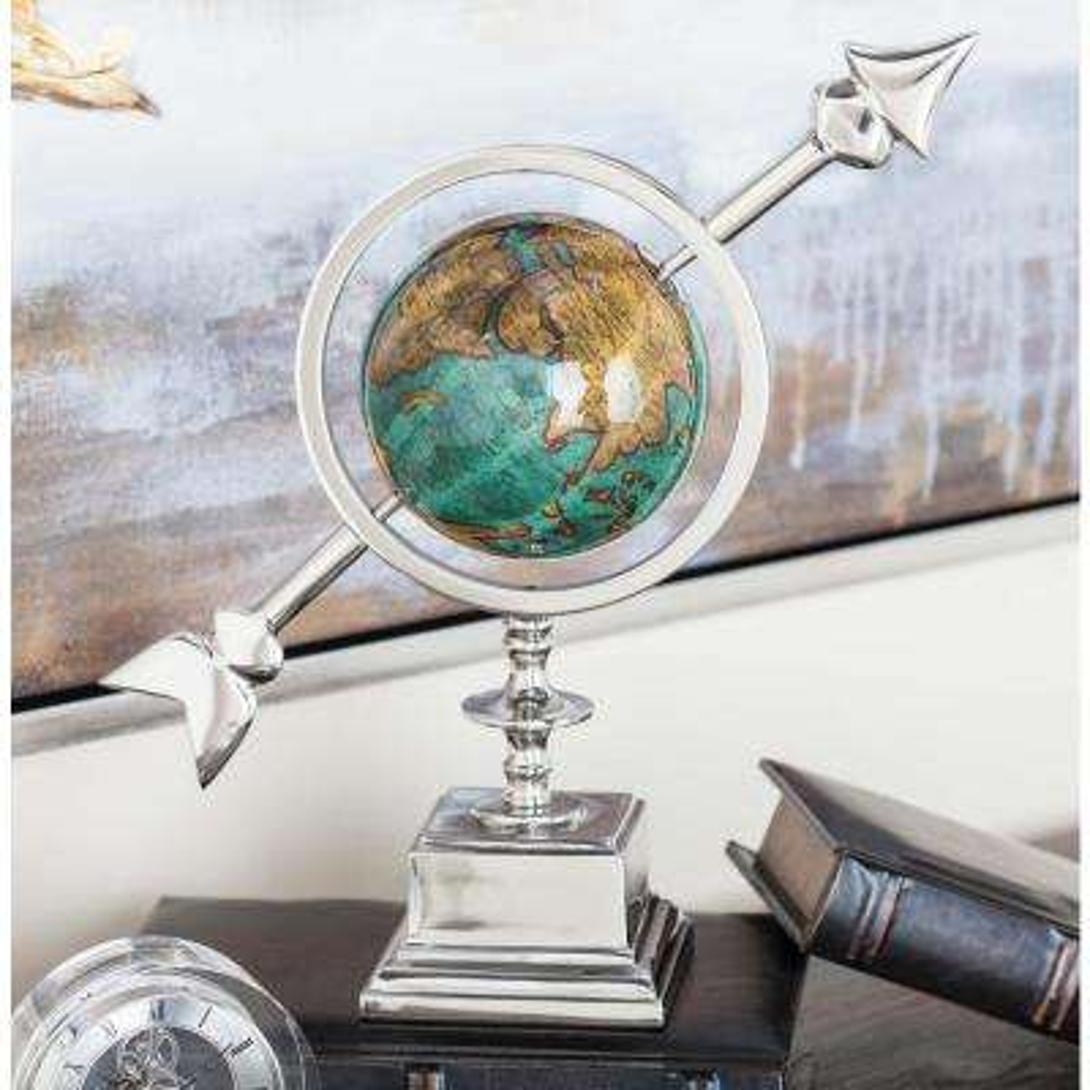 14 in. Modern Aluminum and Plastic Decorative Globe