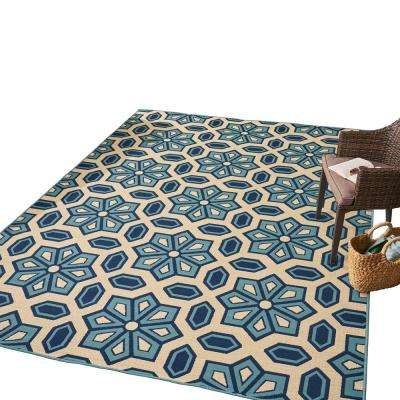 Tegan Blue and Ivory 8 ft. x 11 ft. Geometric Floral Indoor/Outdoor Area Rug