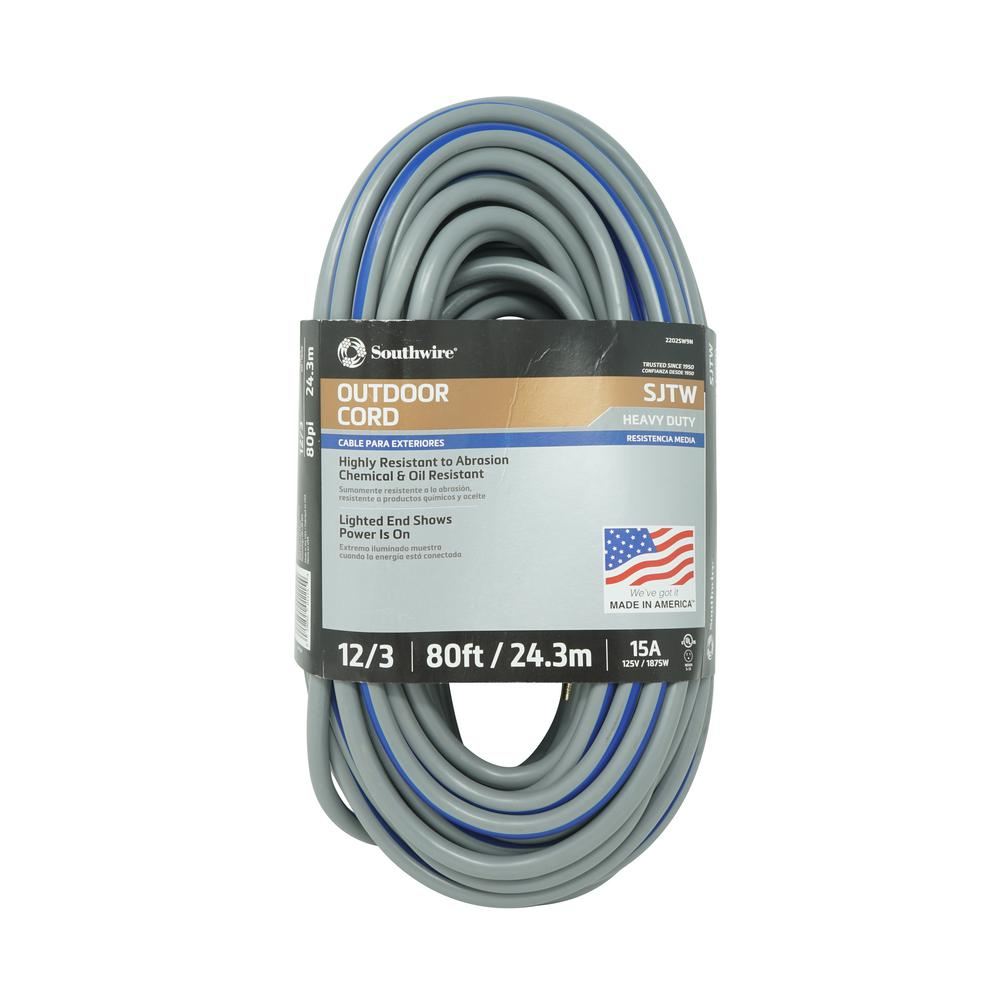 Southwire 80 ft. 12/3 SJTW Multi-Color Outdoor Heavy-Duty Extension ...