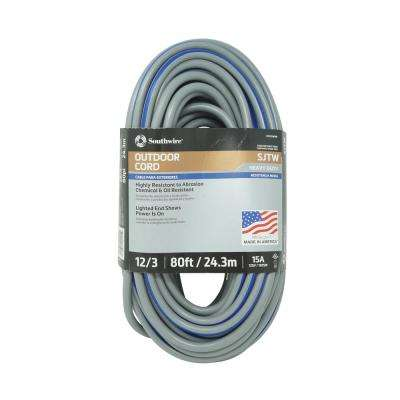 80 ft. 12/3 SJTW Multi-Color Outdoor Heavy-Duty Extension Cord with Power Light Plug