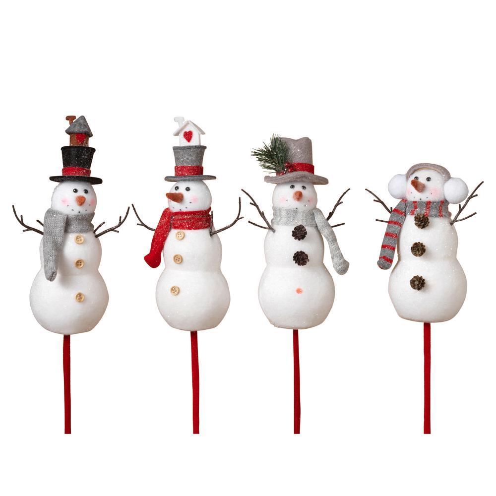 S/4 Asst Holiday Snowmen Picks by