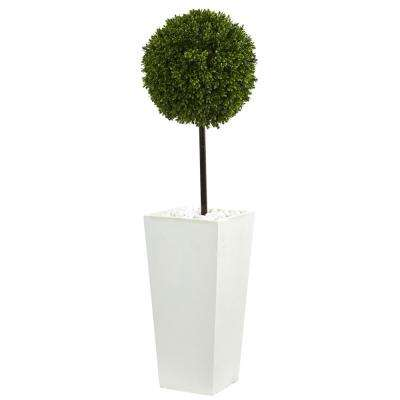 3.5 ft. High Indoor/Outdoor Boxwood Ball Topiary Artificial Tree in White Tower Planter