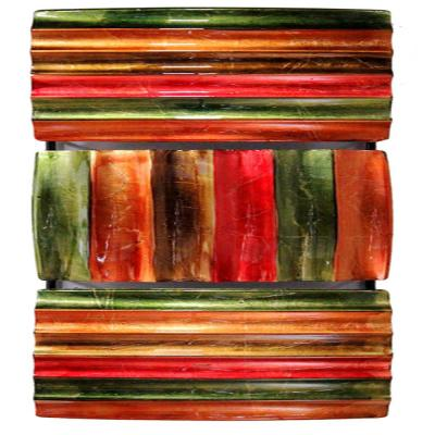 Shelly Metal Green Red Copper Brown Rectangle Home Accent Decor