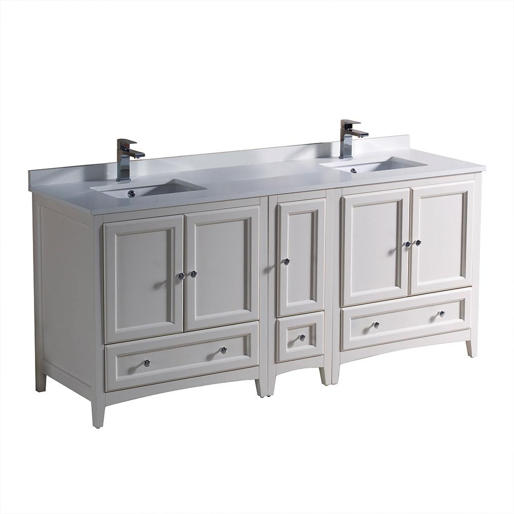 Fresca Oxford 72 in. Double Vanity in Antique White with Quartz Stone Vanity Top in White  with White Basin with Side Cabinet