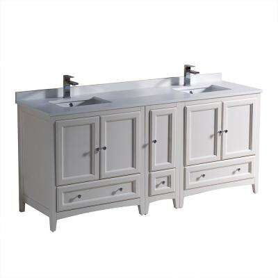 Oxford 72 in. Double Vanity in Antique White with Quartz Stone Vanity Top in White  with White Basin with Side Cabinet