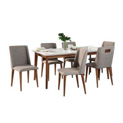 Lillian 62.99 in. and Tampa 7-Piece White Gloss and Grey Dining Set