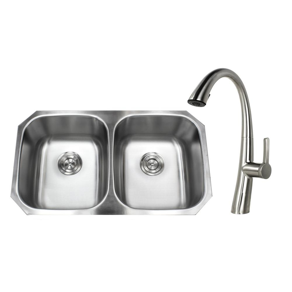 Undermount Stainless Steel 32 in. 50/50 Double Bowl Kitchen Sink with