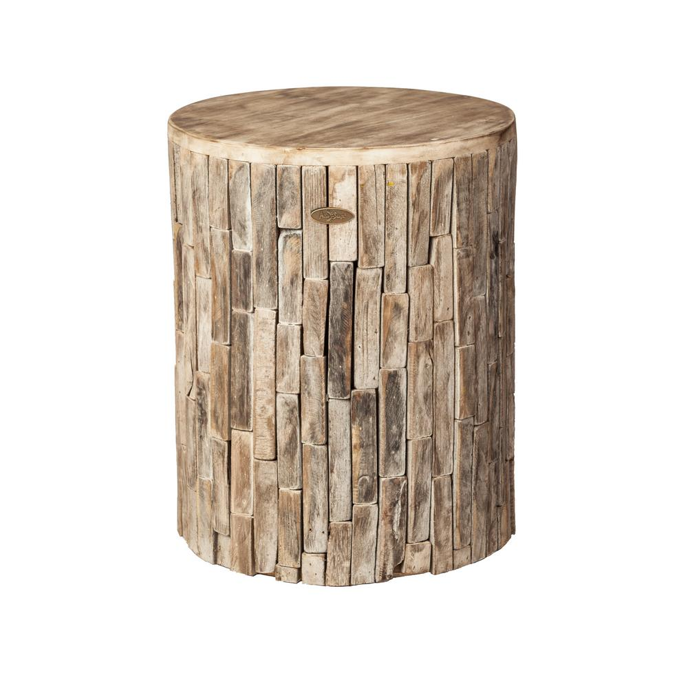 Patio Sense Elyse Round Wood Outdoor Garden Stool