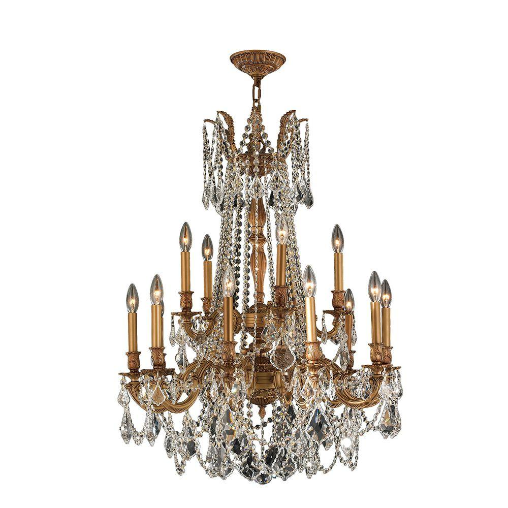 Worldwide Lighting Windsor 15-Light French Gold with Clear Crystal Chandelier