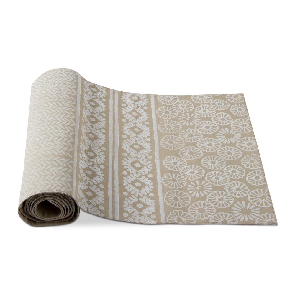 Tag Canyon Block Print Taupe Cotton Table Runner