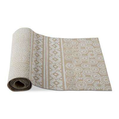 Canyon Block Print Taupe Cotton Table Runner