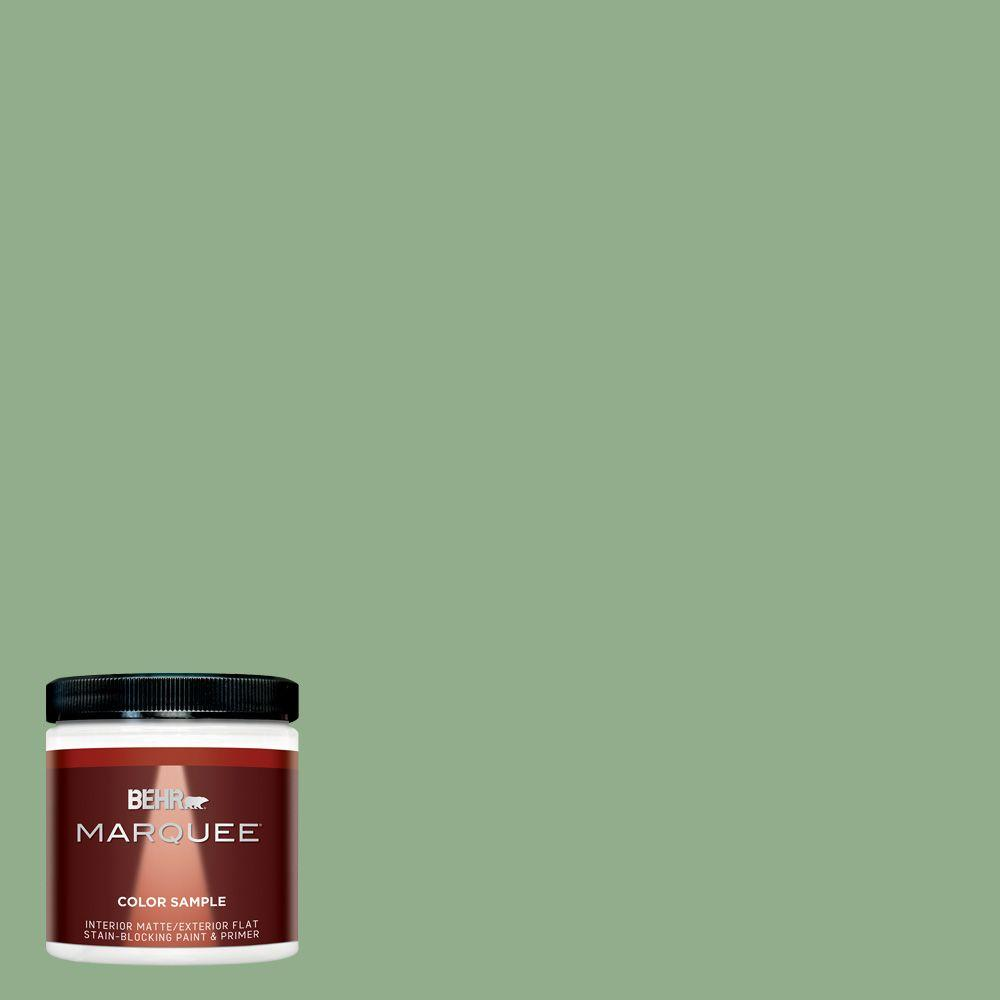 BEHR MARQUEE 8 oz. #MQ6-46 Flora Green Matte Interior/Exterior Paint and Primer in One Sample