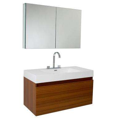 Mezzo 40 in. Vanity in Teak with Acrylic Vanity Top in White with White Basin and Mirrored Medicine Cabinet