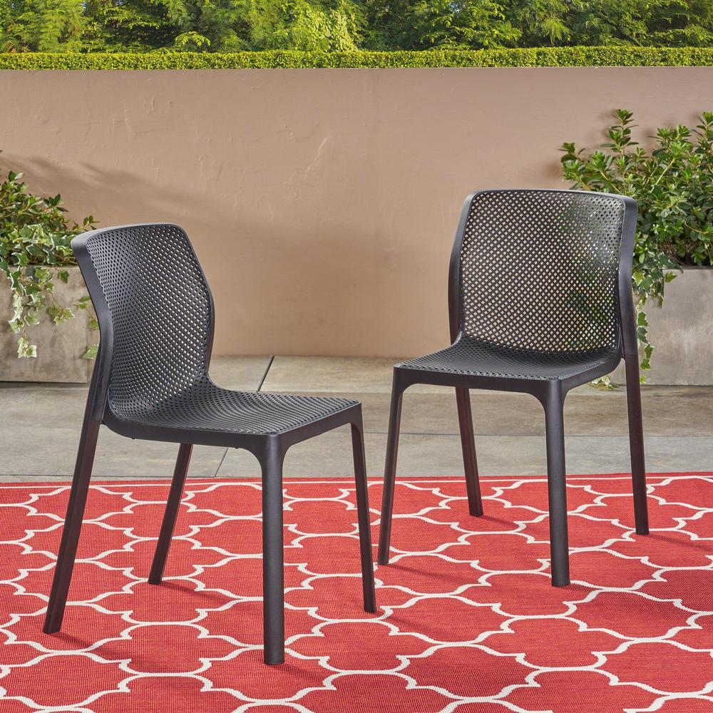Magnificent Noble House Labaron Black Stackable Plastic Outdoor Lounge Chairs 2 Pack Ncnpc Chair Design For Home Ncnpcorg