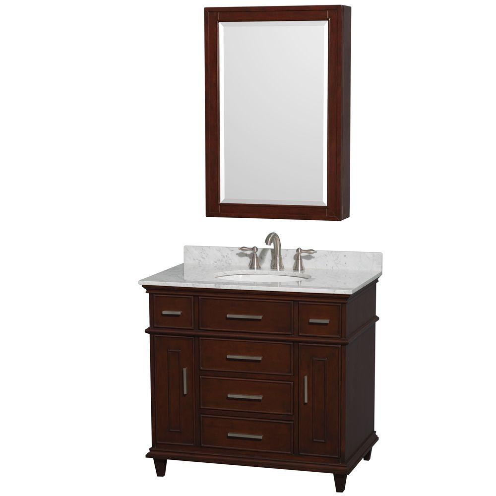 Berkeley 36 in. Vanity in Dark Chestnut with Marble Vanity Top