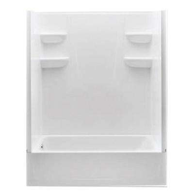 A2 30 in. x 60 in. x 76 in. Left Hand Drain 4-Piece Direct-to-Stud Tub/Shower Wall with Grab Bar Backing in White