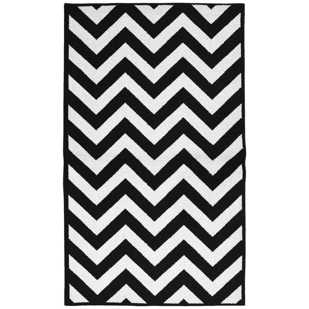 Large Cheveron Black/White 5 ft. x 7 ft. Area Rug