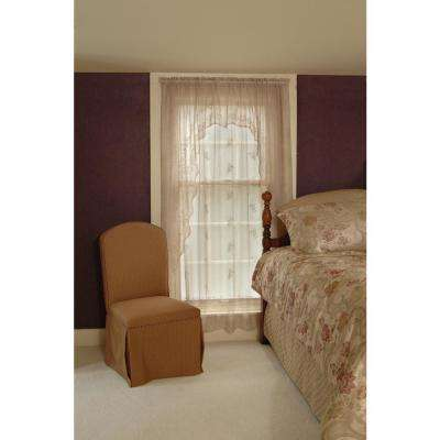 Sheer Divine Flax Lace Curtain 60 in. W 96 in. L