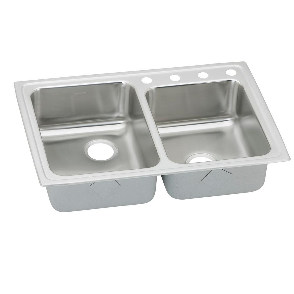 Lustertone Drop-In Stainless Steel 33 in. 4-Hole Square Offset Double Bowl