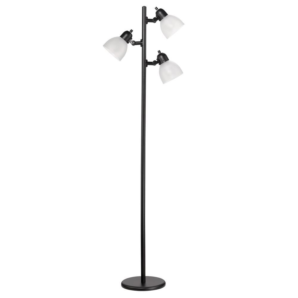 Globe Electric LED for Life 63 in. 3-Light Matte Black Floor Lamp ...