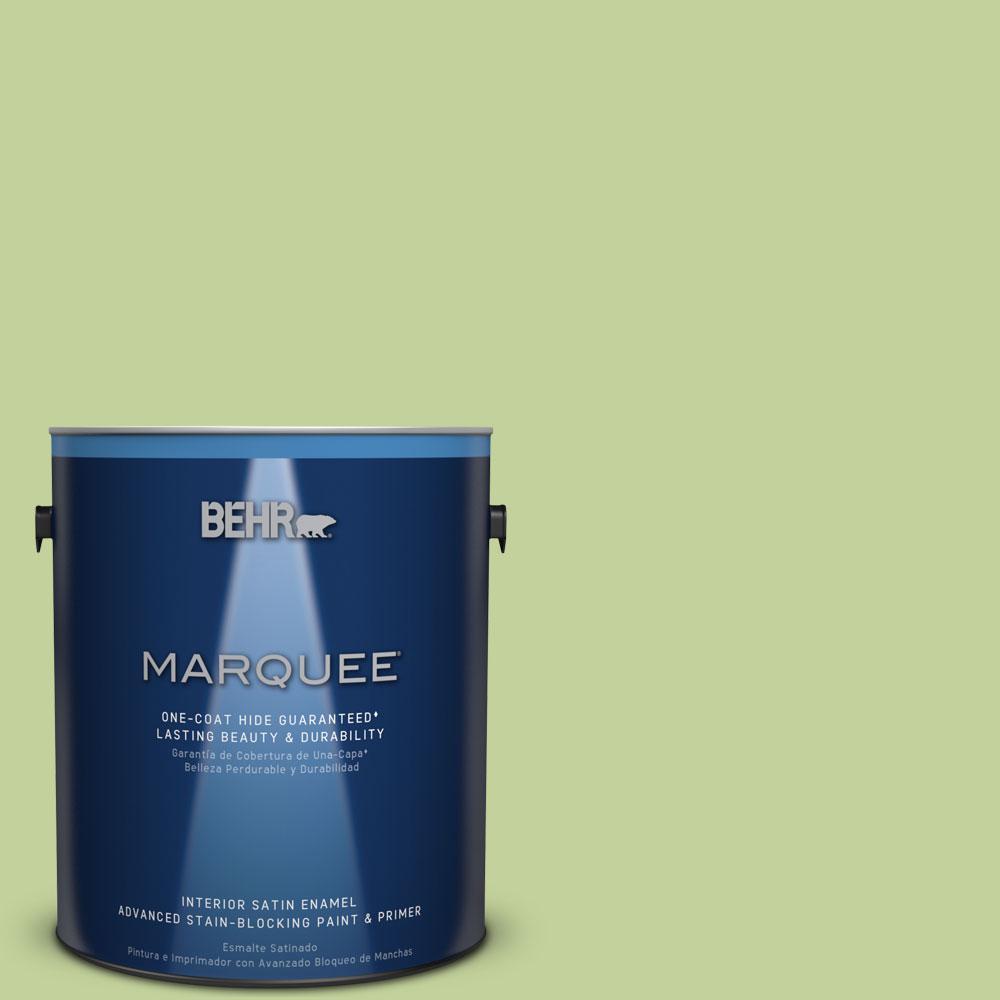 1 gal. #P370-4 Cricket Field One-Coat Hide Satin Enamel Interior Paint