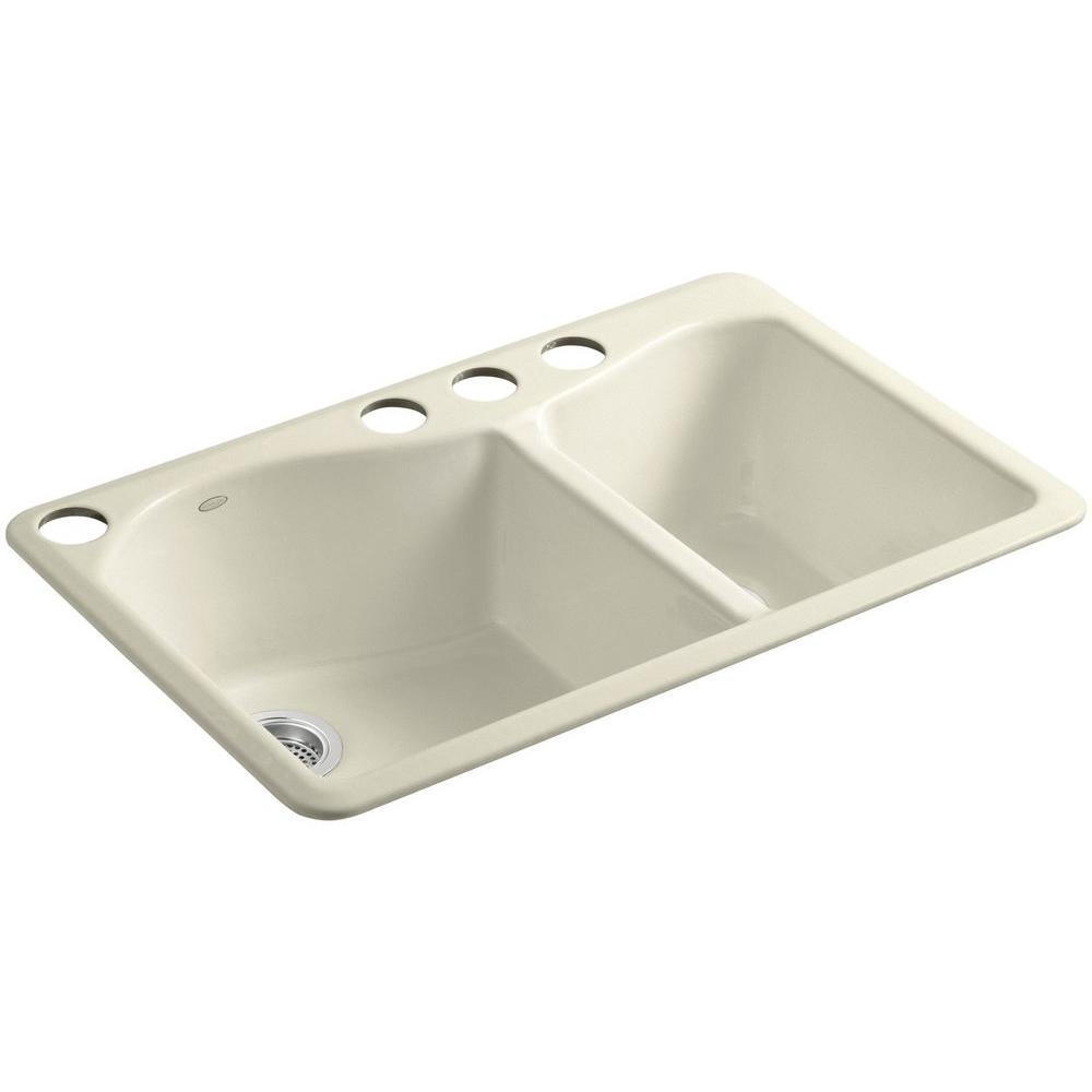 Lawnfield Undermount Cast-Iron 33 in. 4-Hole Double Bowl Kitchen Sink in Cane Sugar