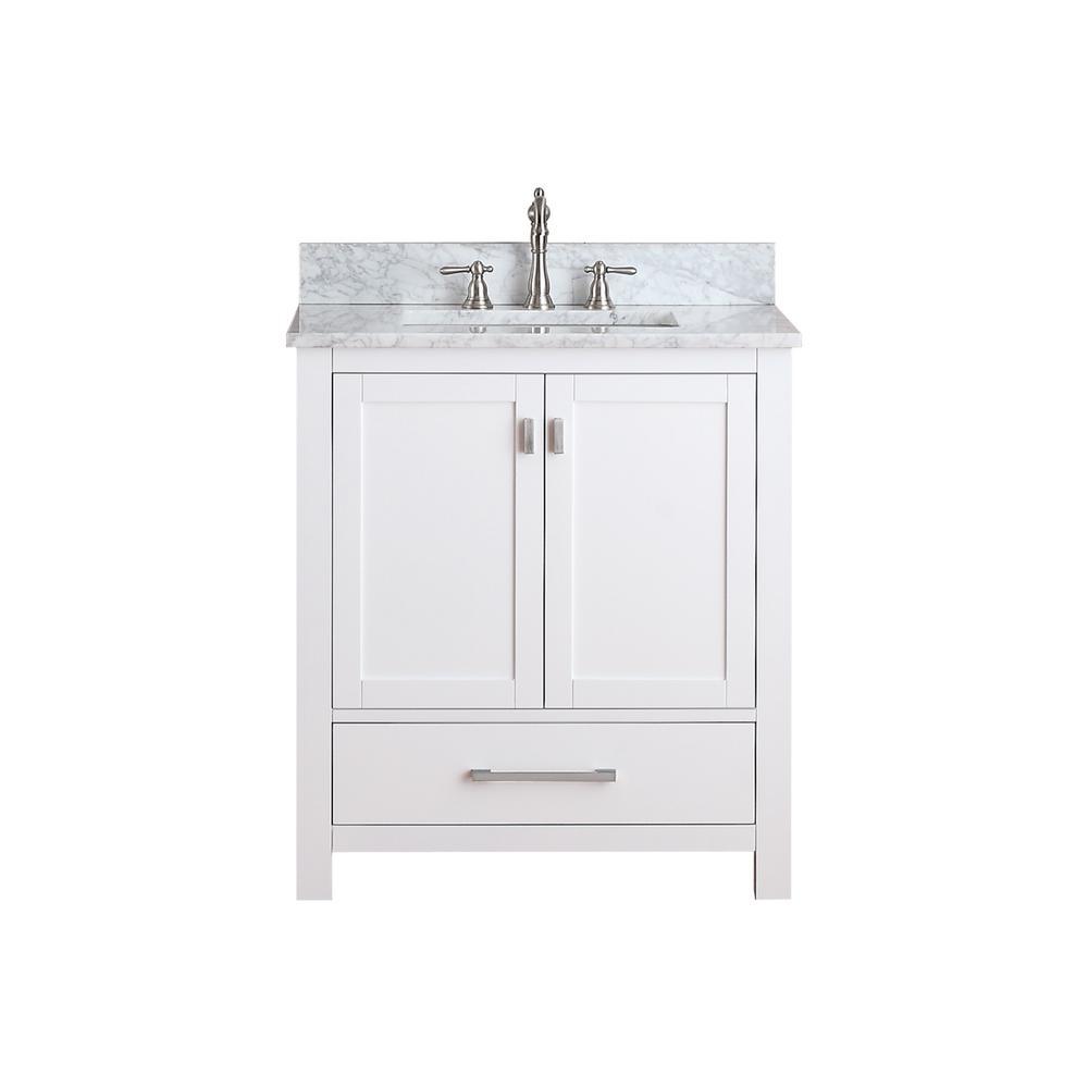 Modero 31 in. W x 22 in. D x 35 in. H Vanity in White with Marble Vanity Top in Carrera White and White Basin