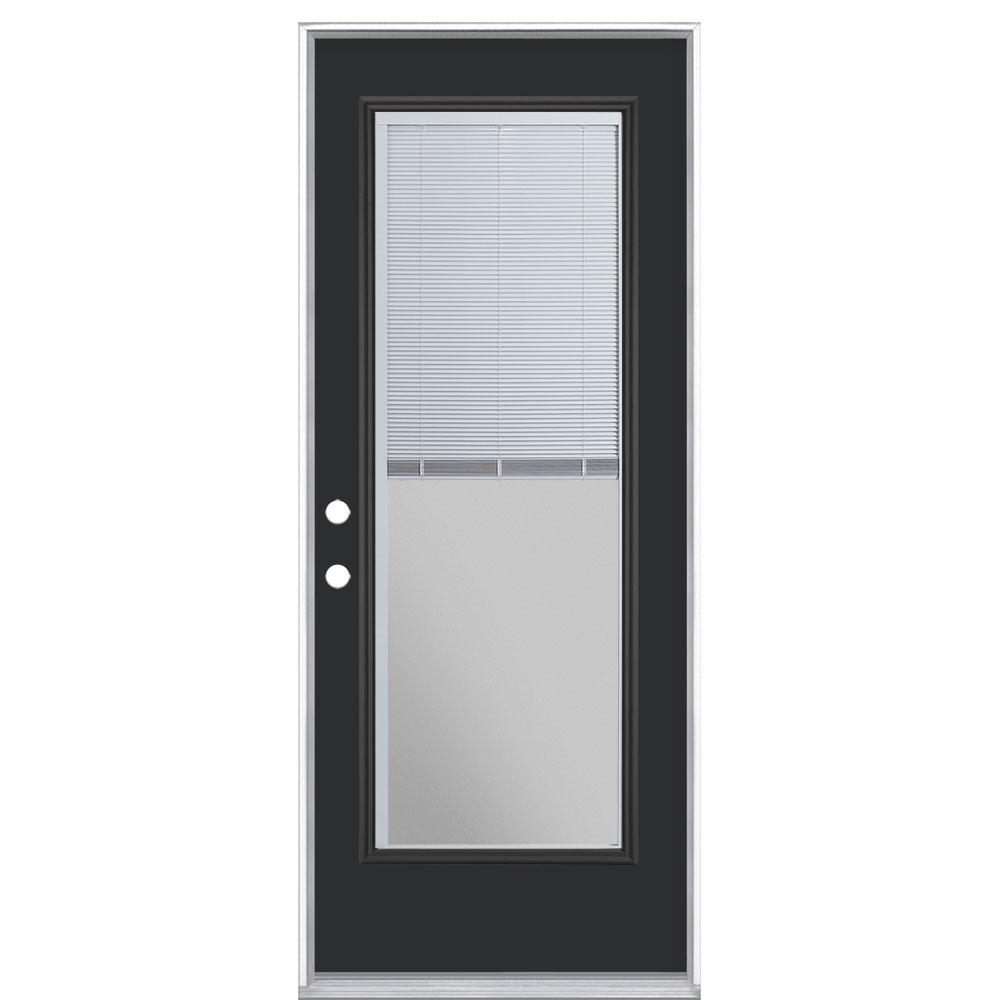 Masonite 32 in. x 80 in. Mini Blind Right-Hand Inswing Painted Steel Prehung Front Exterior Door No Brickmold