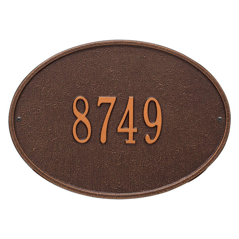 Hawthorne Standard Oval Antique Copper Wall 1-Line Address Plaque