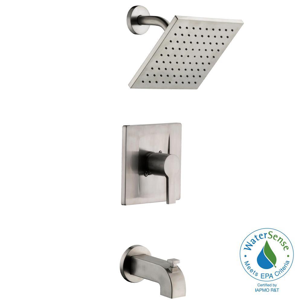 brushed nickel tub and shower faucet set. Glacier Bay Modern Single Handle 1 Spray Tub and Shower Faucet in Brushed  Nickel
