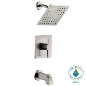 Modern Single Handle 1 Spray Tub And Shower Faucet In Brushed Nickel