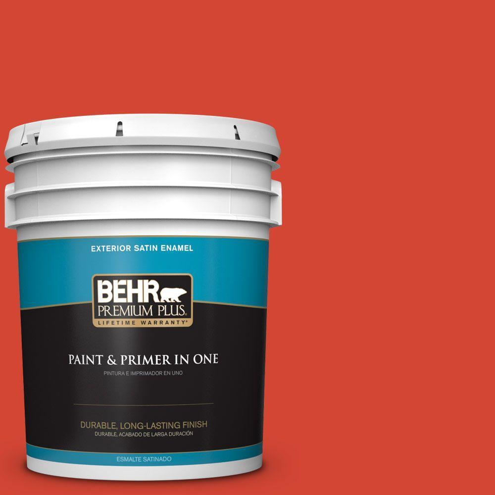 BEHR Premium Plus 5-gal. #S-G-190 Red Hot Satin Enamel Exterior Paint