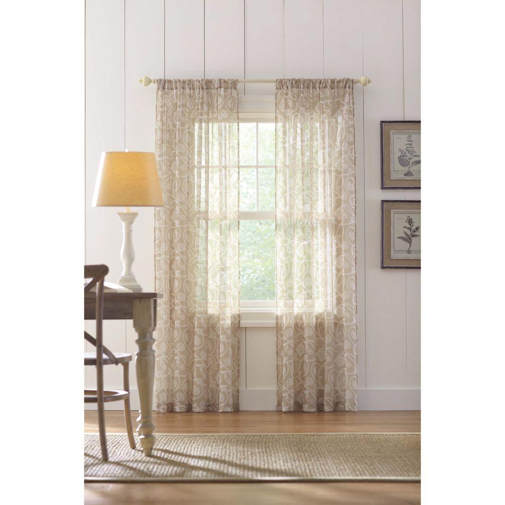 Home Decorators Collection Sheer Sand Rod Pocket Printed Sheer Curtain - 52 in. W x 84 in. L