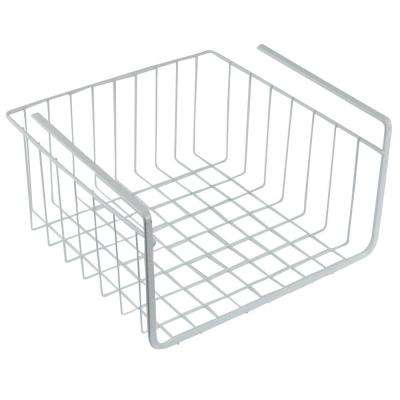 10 in. White Wire Under Shelf Storage Organization Basket
