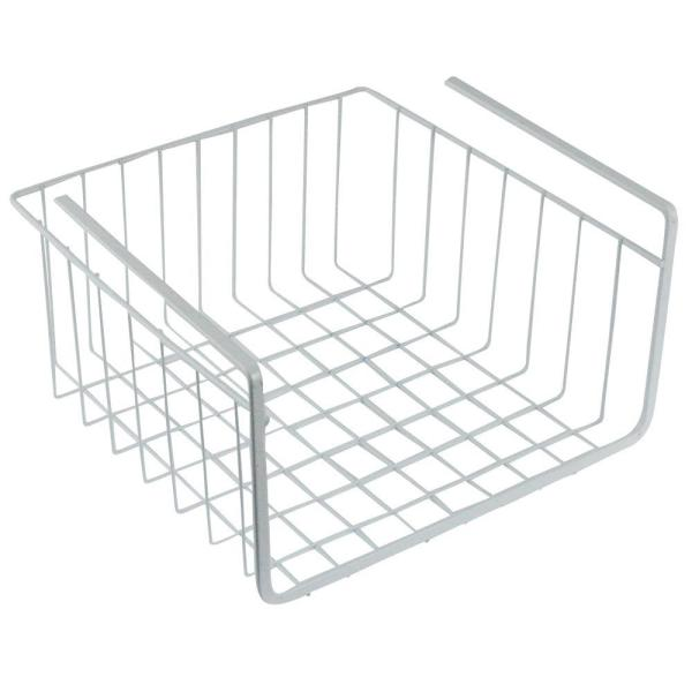 10 in. White Wire Under Shelf Storage Organization Basket