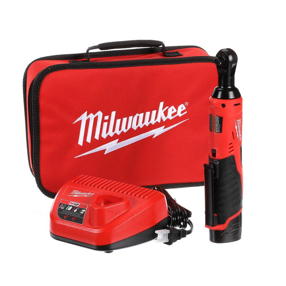Milwaukee M12 12-Volt Lithium-Ion 3/8 in. Cordless Ratchet Kit