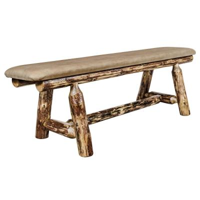 Glacier Country Collection 18 in. H Brown Wooden Bench with Buckskin Upholstered Seat, 5 Ft. Length