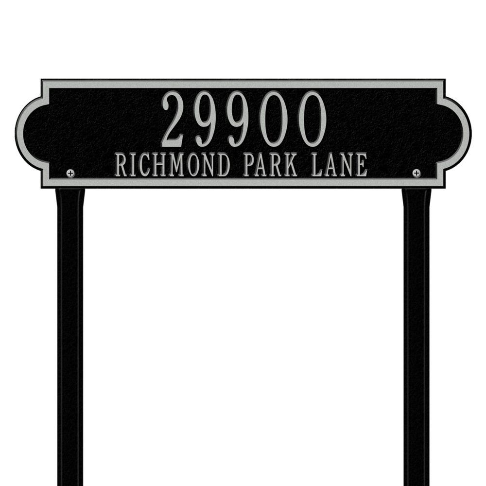 Richmond Rectangular Black/Silver Estate Lawn Two Line Horizontal Address Plaque