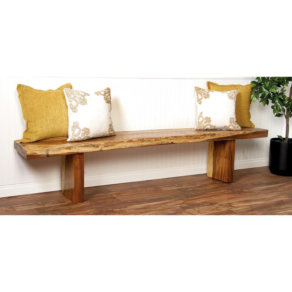Gentil Litton Lane Rustic Elongated Wooden Dining Bench