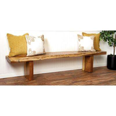 Rustic Elongated Wooden Dining Bench
