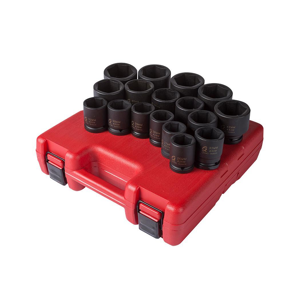 3/4 in. Drive Heavy Duty Metric Impact Socket Set (17-Piece)