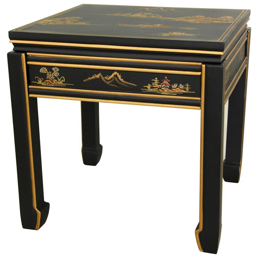 Oriental Furniture Square Ming Black End Table