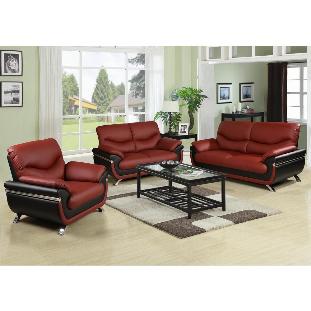 Two-tone Brown And Black Leather Three Piece Sofa Set