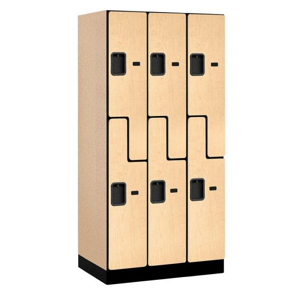 37000 Series 36 in. W x 76 in. H x 21 in. D 2-Tier S-Style Designer Wood Locker in Maple