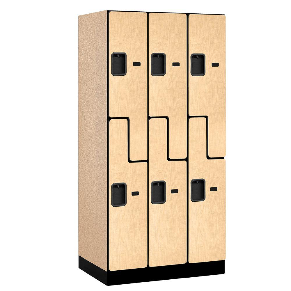 Salsbury Industries 37000 Series 36 in. W x 76 in. H x 21 in. D 2-Tier S-Style Designer Wood Locker in Maple
