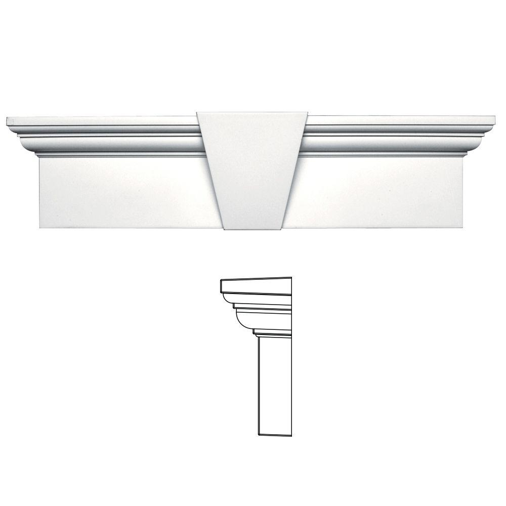 9 in. x 33-5/8 in. Flat Panel Window Header with Keystone