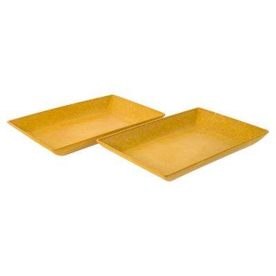 EVO Sustainable Goods Yellow Eco-Friendly Wood-Plastic Composite Serving Dish Set (Set of 2)