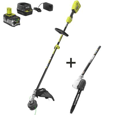ONE+ 18-Volt Cordless Attachment Capable Brushless String Trimmer and Pruner, 4.0 Ah Battery and Charger Included