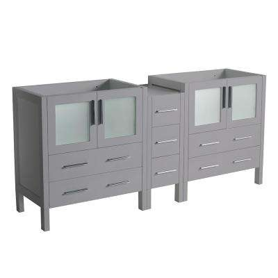 Torino 72 in. W Modern Double Bath Vanity Cabinet Only in Gray with Middle Cabinet