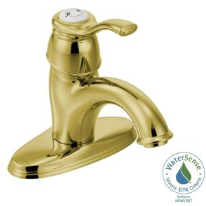 Kingsley 4 In. Centerset 1 Handle Low Arc Bathroom Faucet In Polished Brass